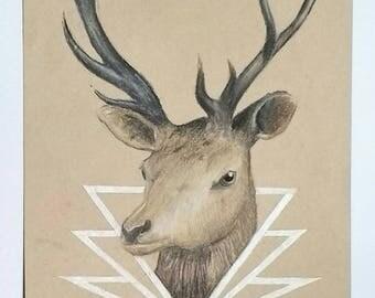 Original stag drawing