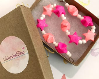 Neon Pink & Electric Pink Origami Lucky Star Bracelet