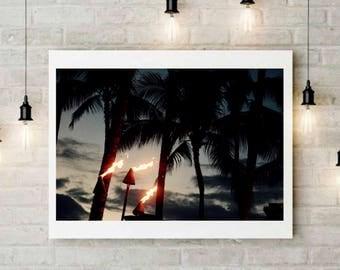 Dancing flamme waikiki,hawaii,honolulu,hula,show,palm,trees,flambeau