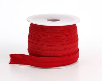 """Foldover elastic, .625"""" Wide, 25 yds, Red"""