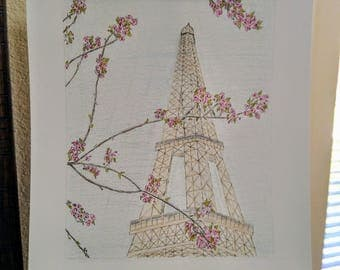 Eiffel Tower Pen Sketch with Color