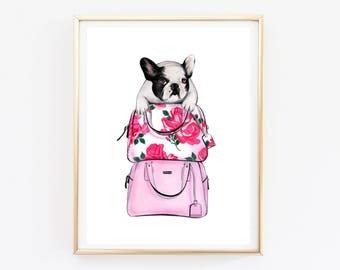 Instant download French bulldog art Bulldog print French bulldog print Bulldog art print Fashion sketch Fashion bulldog Dog lover gift