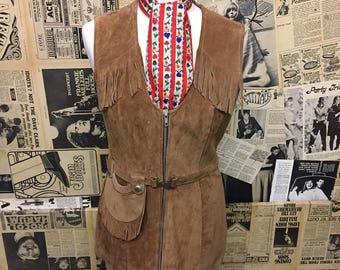 Amazing Vintage 1960s Suede Fringed Zip up Belted Waistcoat Tunic Size 10