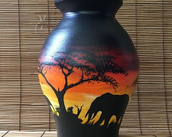 Handpainted African Elephant Vase [Small]