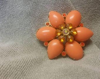 Melon Colored Flower Brooch