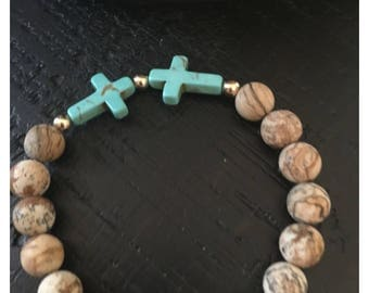 Jasper and turquoise cross bracelet and earrings