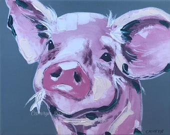 Pig Painting, Textured Wall Decor