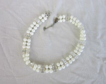 1960'S Cool Double Strand Glass Bead & Crystal Choker Necklace