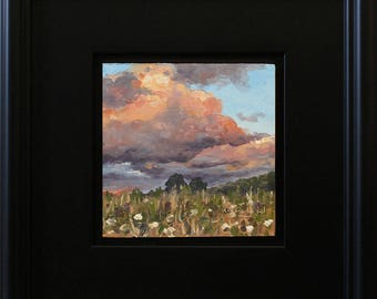 Brush Valley Sunset Clouds, oil painting on hardboard, 5x5 inches, in satin black frame