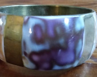 Brass, Enamel, Artful, Bangle Bracelet