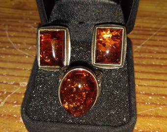 Amber Ring and earring set