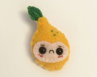 "Lemon Handmade Felt Brooch- ""Lenny"""