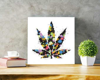 "16"" x 16"" Mounted Canvas of ""Weed Leaf"""