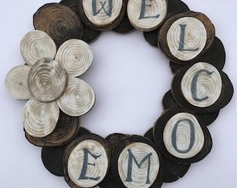 Wood welcome wreath