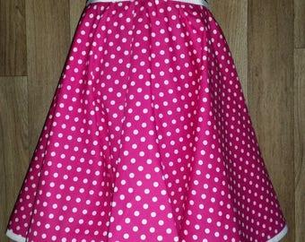 Cerise annd white polka dot summer skirt