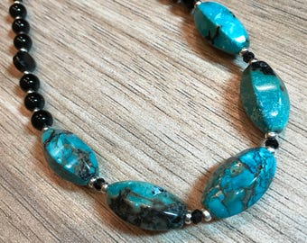 Turquoise, Onyx, Black Spinel Necklace