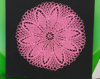 Mounted Pink Doily