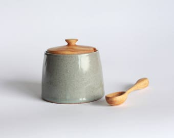 Ceramic Celadon Salt | Sugar Bowl with wooden lid and hand carved wooden spoon
