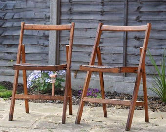 Set of Four Vintage Wooden Folding Deck Chairs