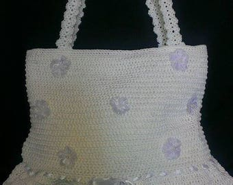Hand knitted crochet handbag