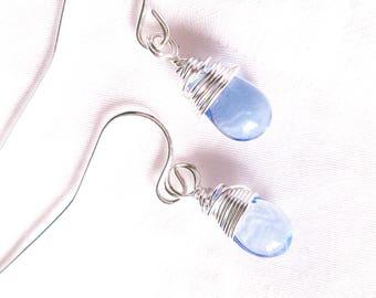 Silver Wire Wrapped Periwinkle Glass Drop Earrings