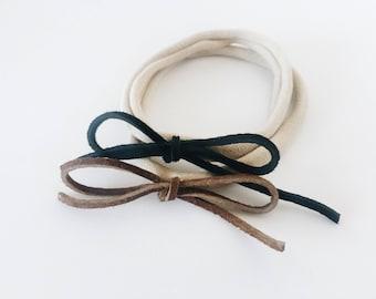 Leather bow headband