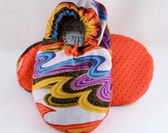 "5.5"" Soft-Soled Baby Shoes - Sound Waves - Adjustable Ankles - Non-Slip Soles"