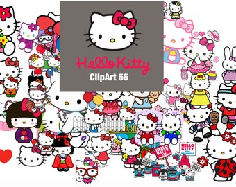55 Hello Kitty ClipArt - Digital , PNG, image, picture,  oil painting, drawing,llustration, art , birthday,handicraft 300 DPI, 300 PPI