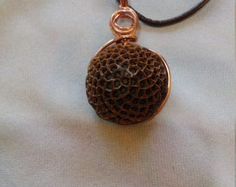 South African protea seed necklace wound copper and leather