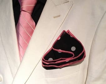 Pocket square polka dot black with pink stitched pipe borders by squaretrapny.com