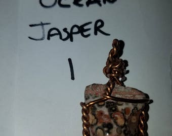 Rustic copper wire wrapped ocean jasper Pendant (Pendant only no necklace)