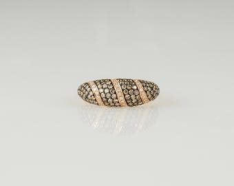 14K Rose Gold Chocolate, White & Multi Colored Diamond Ring Size 7
