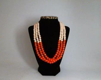 Lustrous Designed Beaded Triple Strand Necklace w/ Free Matching Earrings