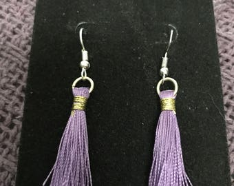 Lavender tassle earrings