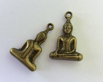 Antiqued Bronze Sitting Buddha Charms 34 x 22 x 7mm