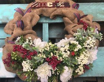 """Patriotic American Flag Door Wreath Summer Spring Flowers Handmade 18"""" Burlap Artificial Flowers"""