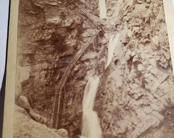 Original Cabinet Card photograph of the Seven Falls located in South Cheyenne Canon, Colorado Springs, Colorado