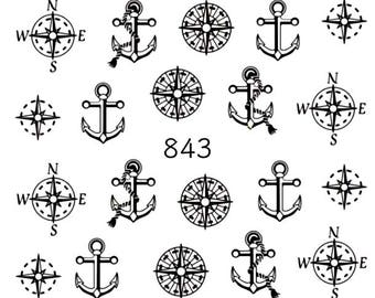 Water nail stickers, marine and sea nails, manicure no.843