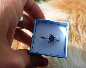 Blue sapphire 18k white gold plated ring