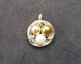 Pearl/Champagne Trio Bird's Nest Pendant