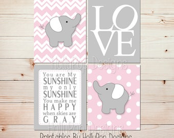 Printable nursery art Printable girl art Instant download nursery Pink gray elephant decor Baby girl nursery You are my sunshine art #0721