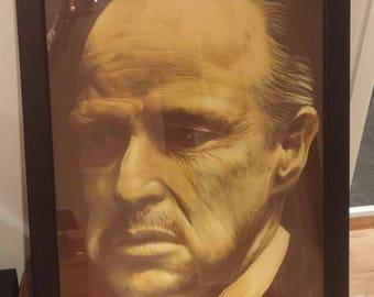 "Original hand painted Marlon Brando portrait. Acrylic on 18 x 24"" canvas"
