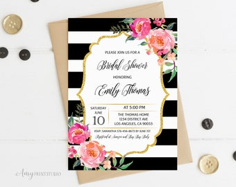 Bridal Shower Invitation, Floral Bridal Shower Invitations, Striped Bridal Shower Invitation, PERSONALIZED, Digital file, #D03