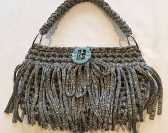 Small Handmade Boho Bag/Clutch, Fringed, Casual, Crocheted Funky Handbag/Clutch