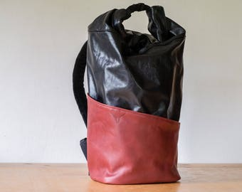 Leather backpack, Roll top backpack, Travel backpack, Leather rucksack, Rolltop pack, Large backpack, Roll top rucksack, Canvas backpack