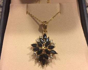 22k Gold Sapphire and Diamond Pendant