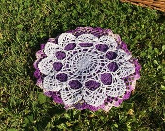 Lot of 2 crochet doilies