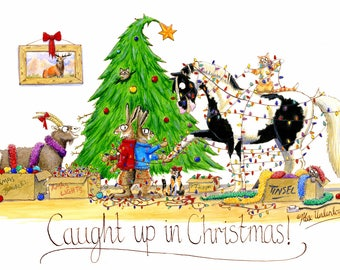 Humorous Horse Christmas Greeting Card - Caught up in Christmas!