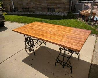 Reclaimed Rustic Dining Table, Sewing Table Base, Free Shipping