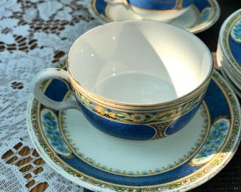 1920's Fine Bone China Vintage Tea Set – Mix of Samuel Radford of Fenton 'Varsity' and Grosvenor china/Jackson and Gosling